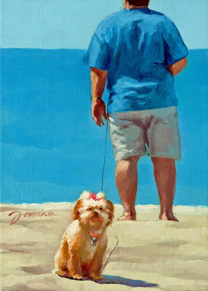 """Daddy's Girl --Series Painting of Dog & Owner"" original fine art by Joanna Bingham"