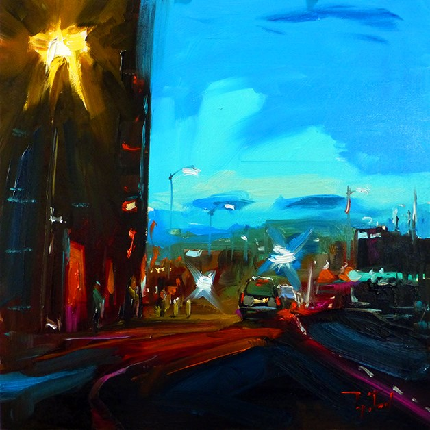 """""""Abend, Stadt"""" original fine art by Jurij Frey"""