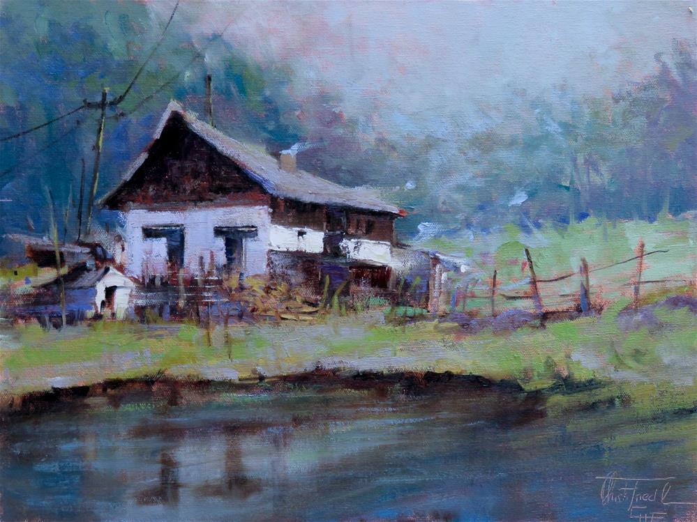 """""""Farmhouse at a pond"""" original fine art by Christa Friedl"""