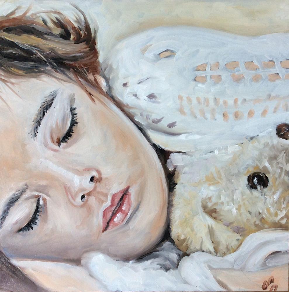"""Afternoon nap with teddy"" original fine art by Sonja Neumann"
