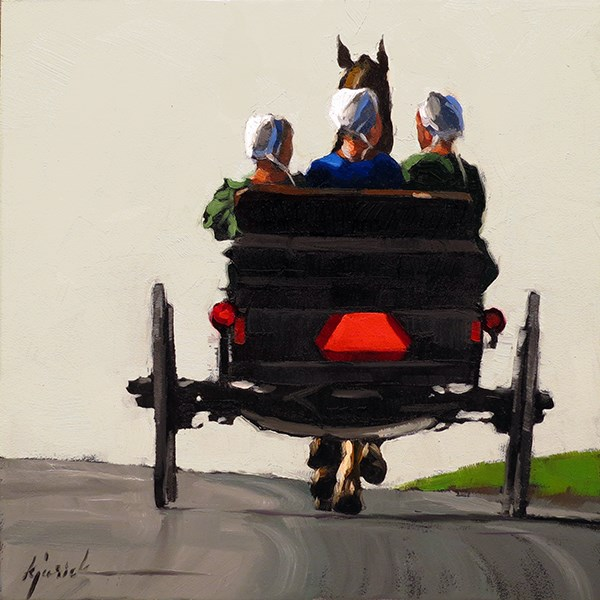 """Lincoln Highway/Amish Buggy, Pennsylvania"" original fine art by Karin Jurick"