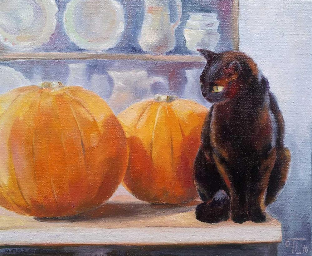 """DCS# 42 The Cat challenge or Halloween is coming"" original fine art by Olga Touboltseva-Lefort"