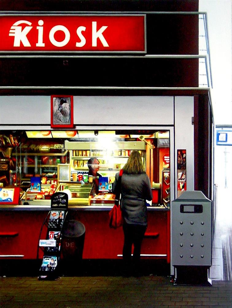"""""""The Kiosk- Painting Of Woman Buying Something At Kiosk On Train Station"""" original fine art by Gerard Boersma"""