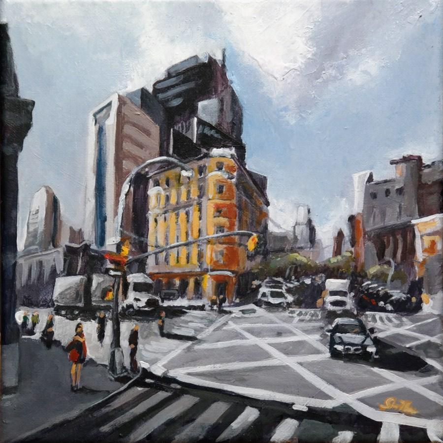 """1632 New York Crossing"" original fine art by Dietmar Stiller"