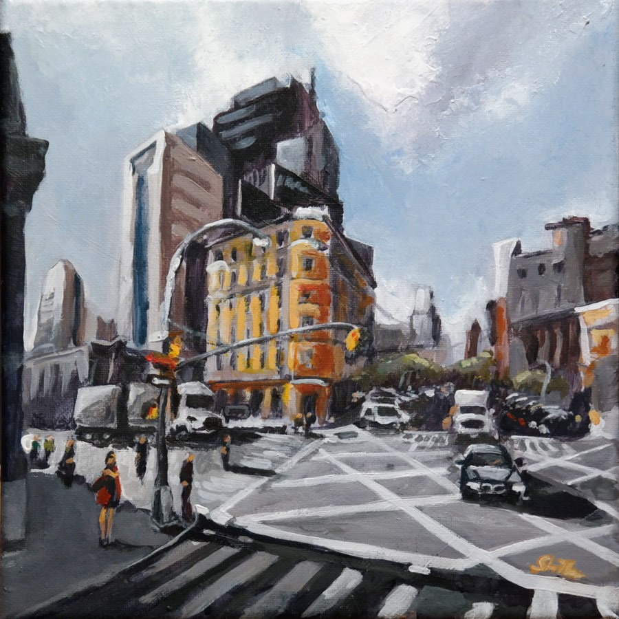 """1632 New York Crossing"" original fine art by Dietmar Stiller"