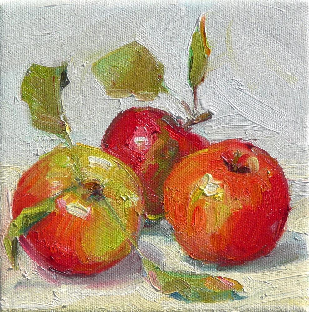 """More Apples,still life,oil on canvas,6x6,price$250"" original fine art by Joy Olney"