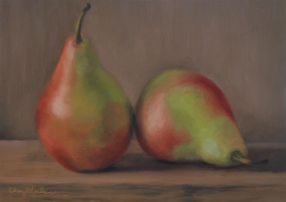 """Colorful Pears"" original fine art by Cheryl Meehan"
