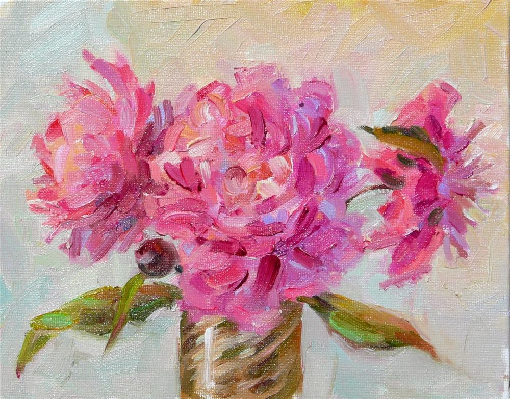 """Spring Peonies,still life,oil on canvas,8x10,price$300"" original fine art by Joy Olney"
