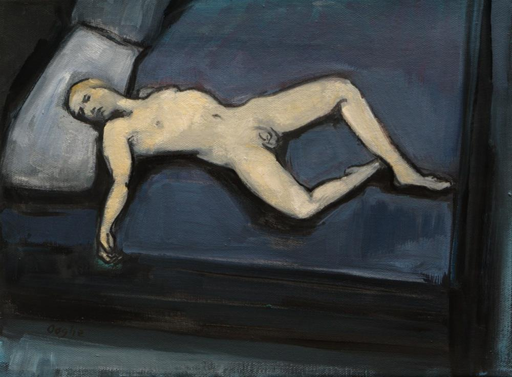 """""""Male Nude on Bed"""" original fine art by Angela Ooghe"""