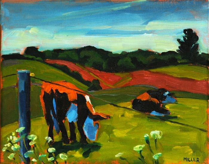 """Knapp's Cows"" original fine art by Jessica Miller"
