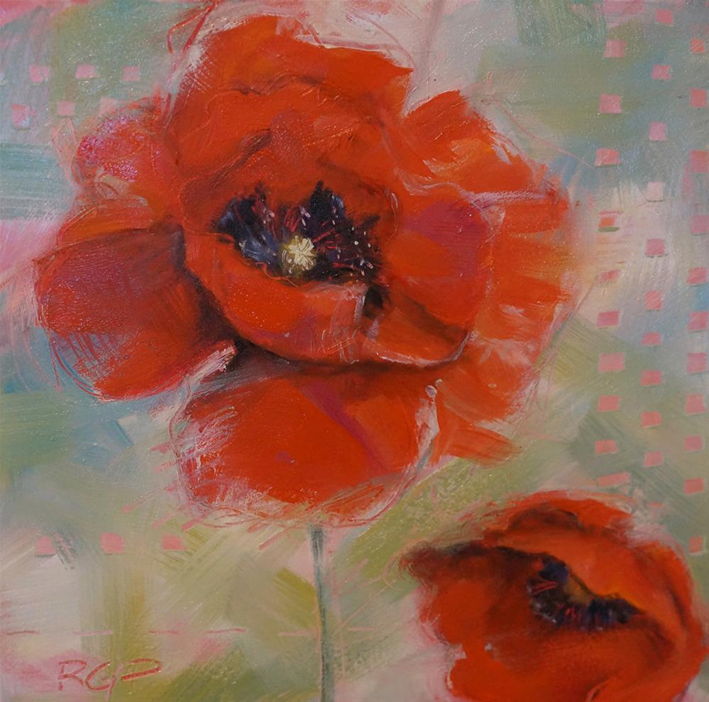 """""""2 Poppies in the Wind"""" original fine art by Rhea  Groepper Pettit"""