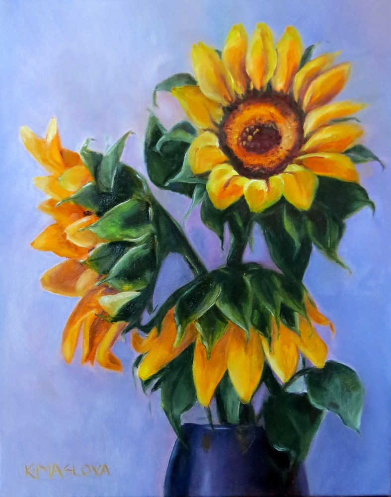 """Sunflowers"" original fine art by Kulli Maslova"