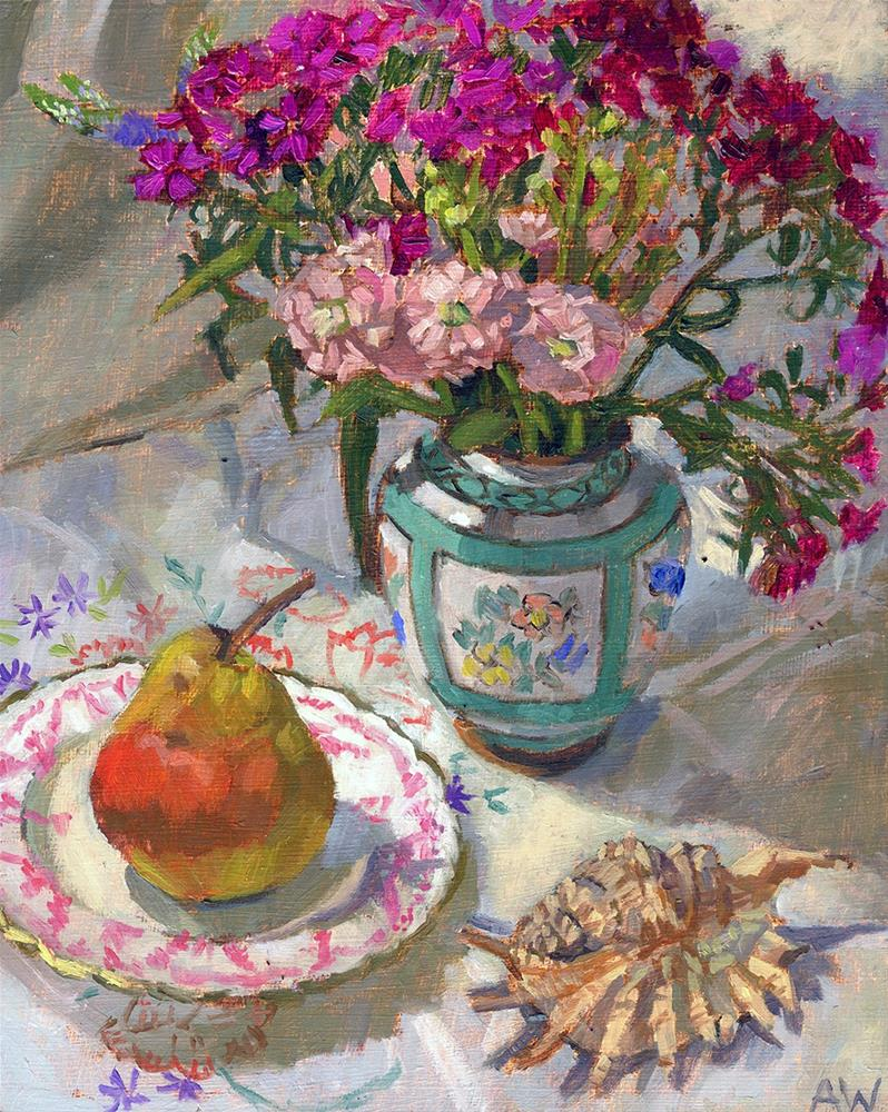 """""""Garden Flowers and Pear"""" original fine art by Angie Wood"""