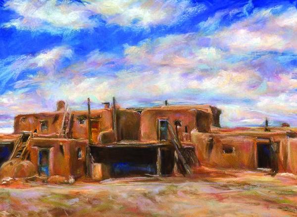 """""""CLOUDS- 10 x 14 southwest pastel landscape by Susan Roden"""" original fine art by Susan Roden"""