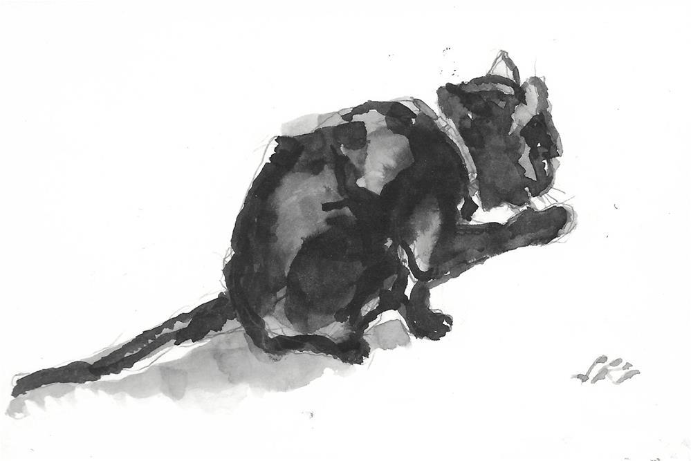 """Daily Cat 206"" original fine art by Jean Krueger"