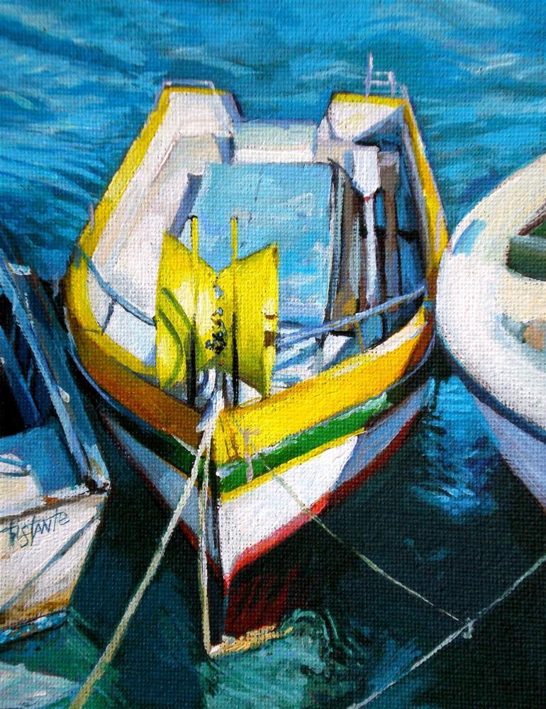"""Yellow boat"" original fine art by Víctor Tristante"