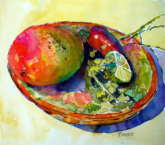 """Mango Salsa 12015"" original fine art by Nancy Standlee"