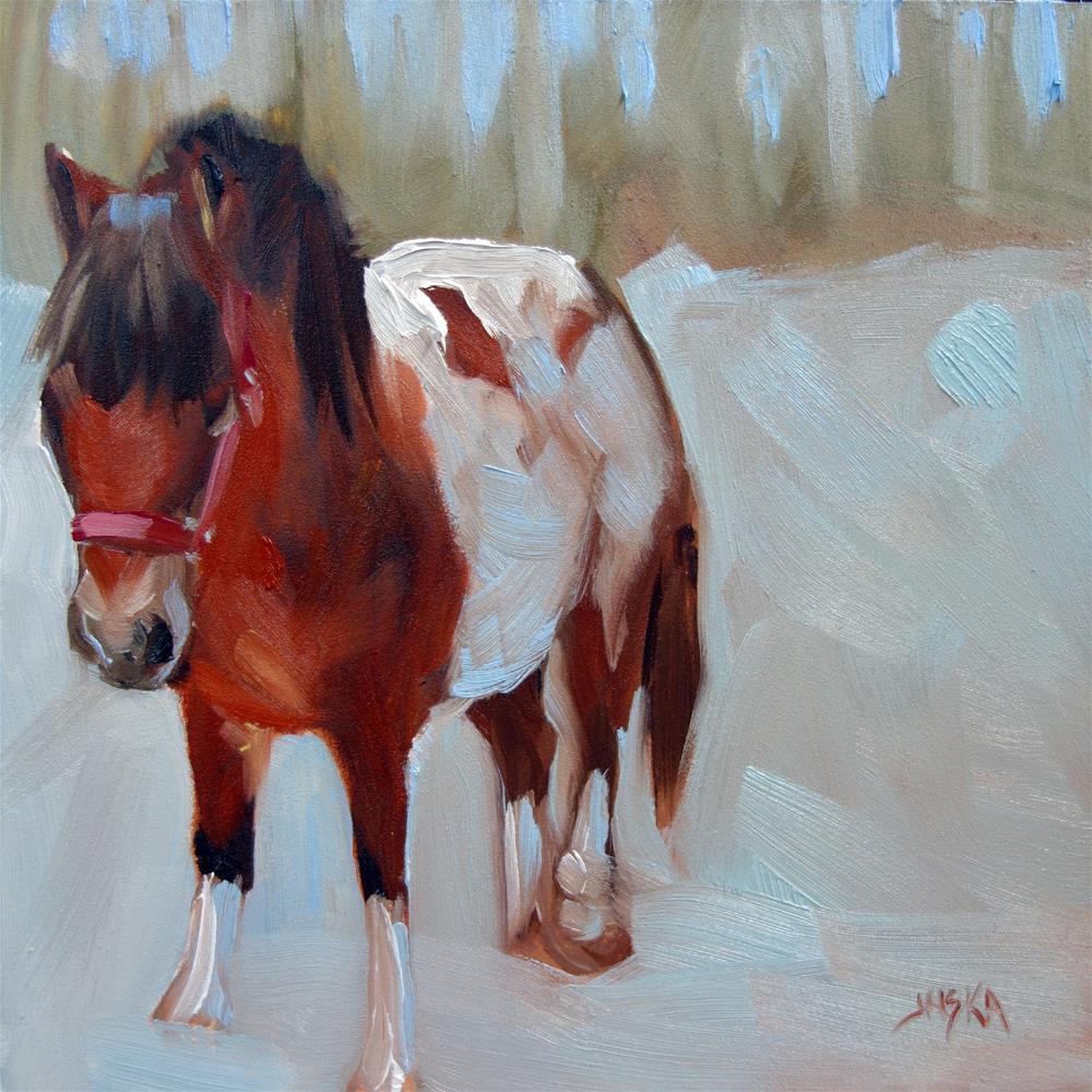 """Paint Pony in the Snow"" original fine art by Elaine Juska Joseph"