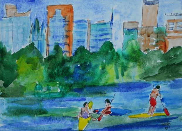 """City Recreation"" original fine art by Donna Crosby"