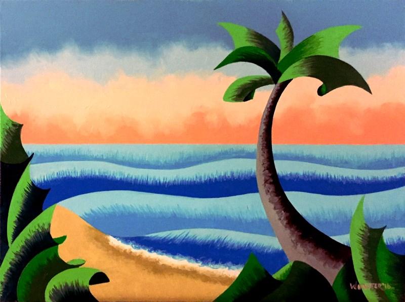 """Mark Webster - Futurist Palm Tree Ocean Landscape Oil Painting"" original fine art by Mark Webster"