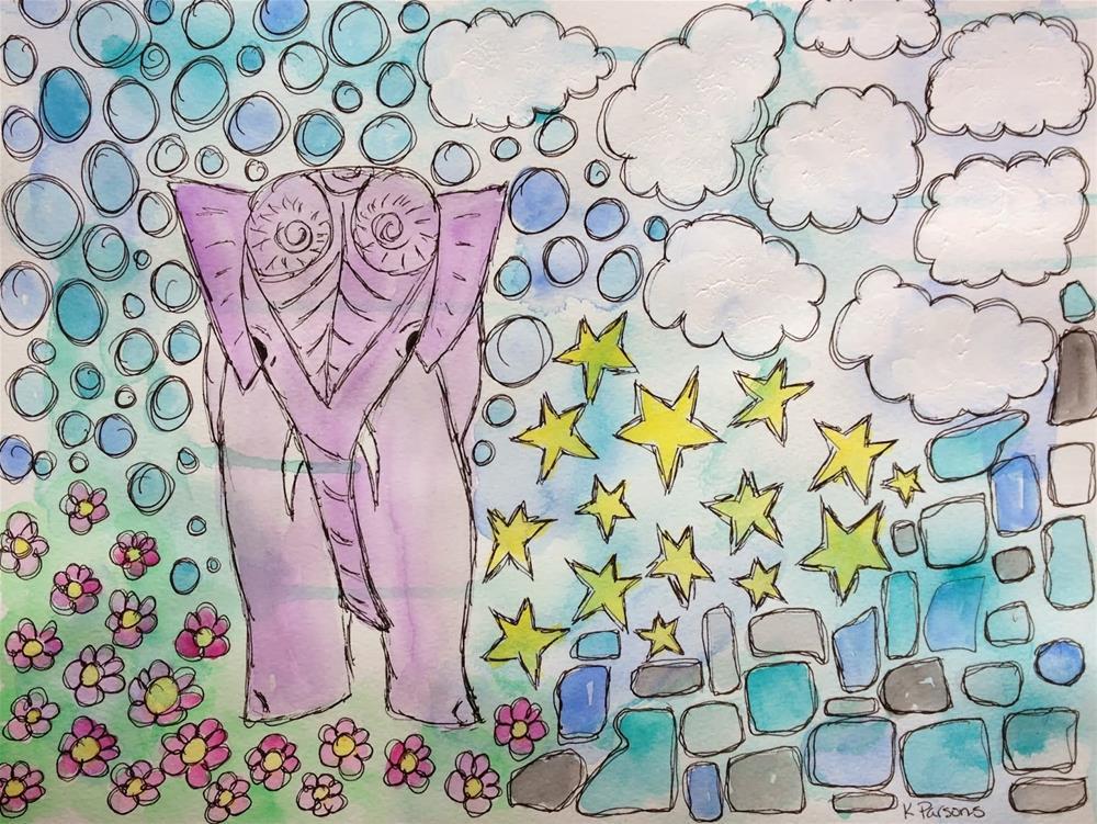 """Elephant Bliss"" original fine art by Kali Parsons"