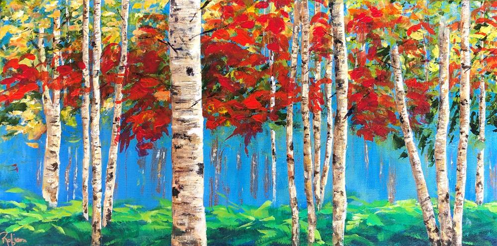 """Birch Trees in Early Fall"" original fine art by Renee Robison"