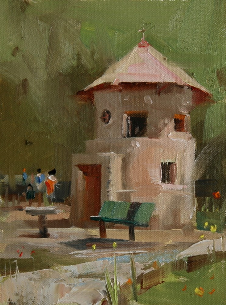 """Small Building at Mayfield Park"" original fine art by Qiang Huang"