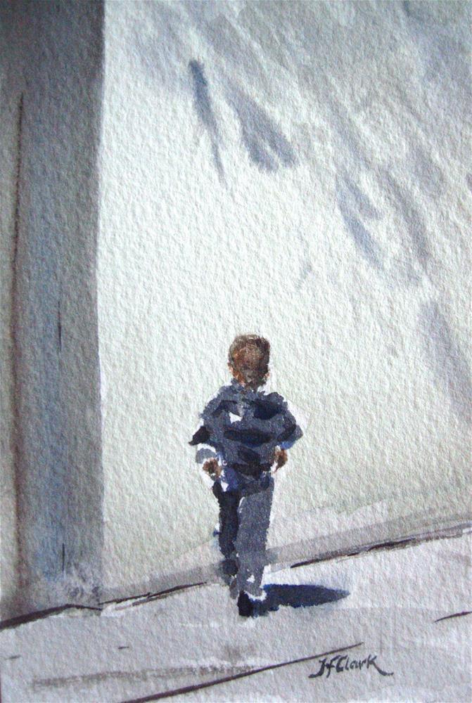 """Urban School-Yard, tiny study"" original fine art by Judith Freeman Clark"
