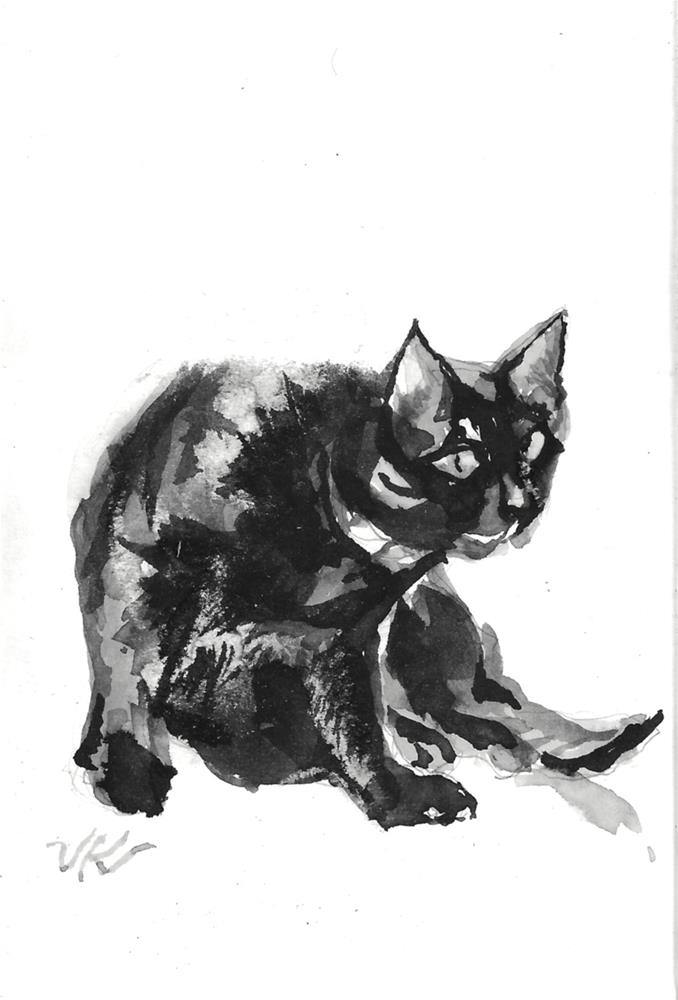 """Daily Cat 172"" original fine art by Jean Krueger"