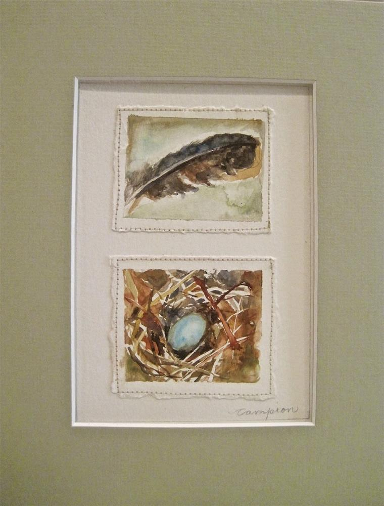 """""""394 One Little Egg and a Feather"""" original fine art by Diane Campion"""