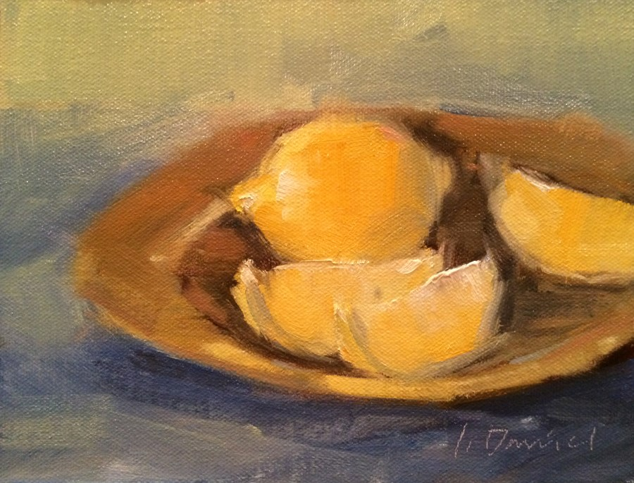 """Lemon Slices - Seven of 30 in 30"" original fine art by Laurel Daniel"