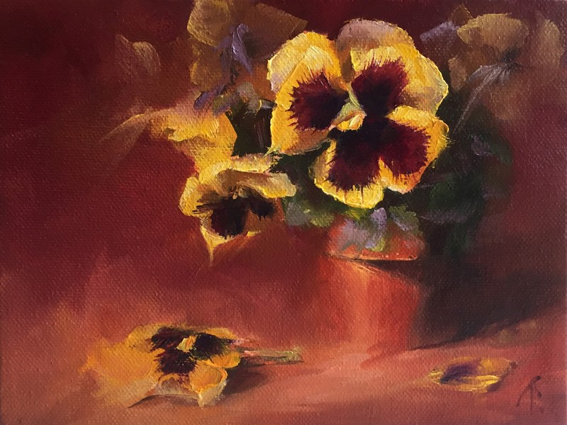 """Study of Pansies in Mid Key"" original fine art by Lori Twiggs"
