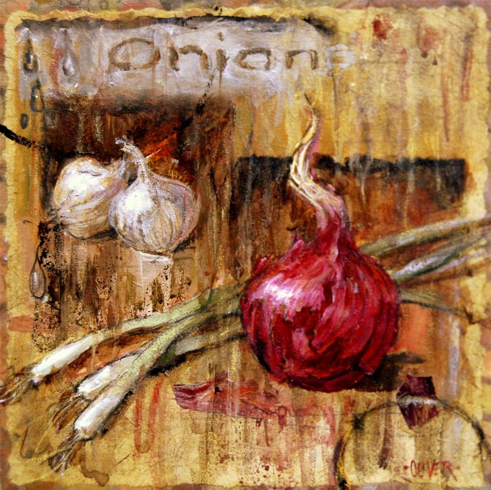 """""""Peoples Choice Award - O is for Onion"""" original fine art by Julie Ford Oliver"""