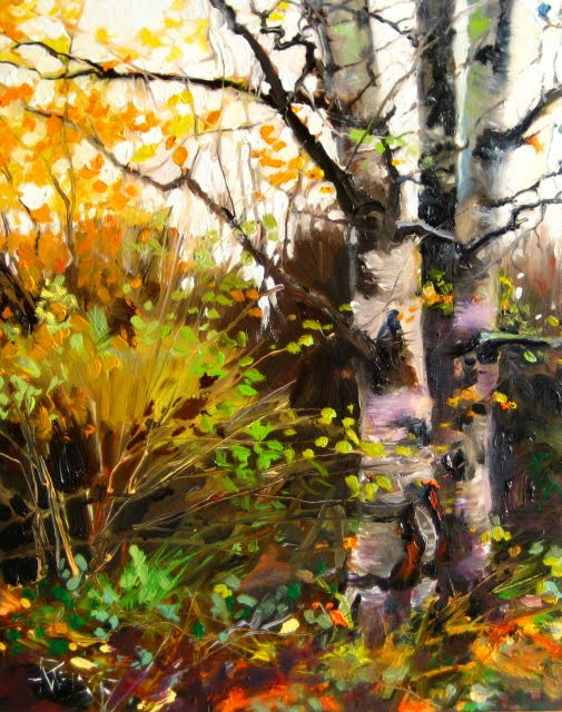 """""""Birch Trees at the Arboretum  oil landscape painting"""" original fine art by Robin Weiss"""