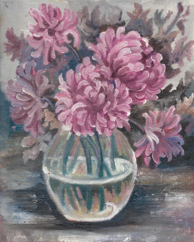 """""""Pink Peonies in a clear vase """" original fine art by R. S. Perry"""