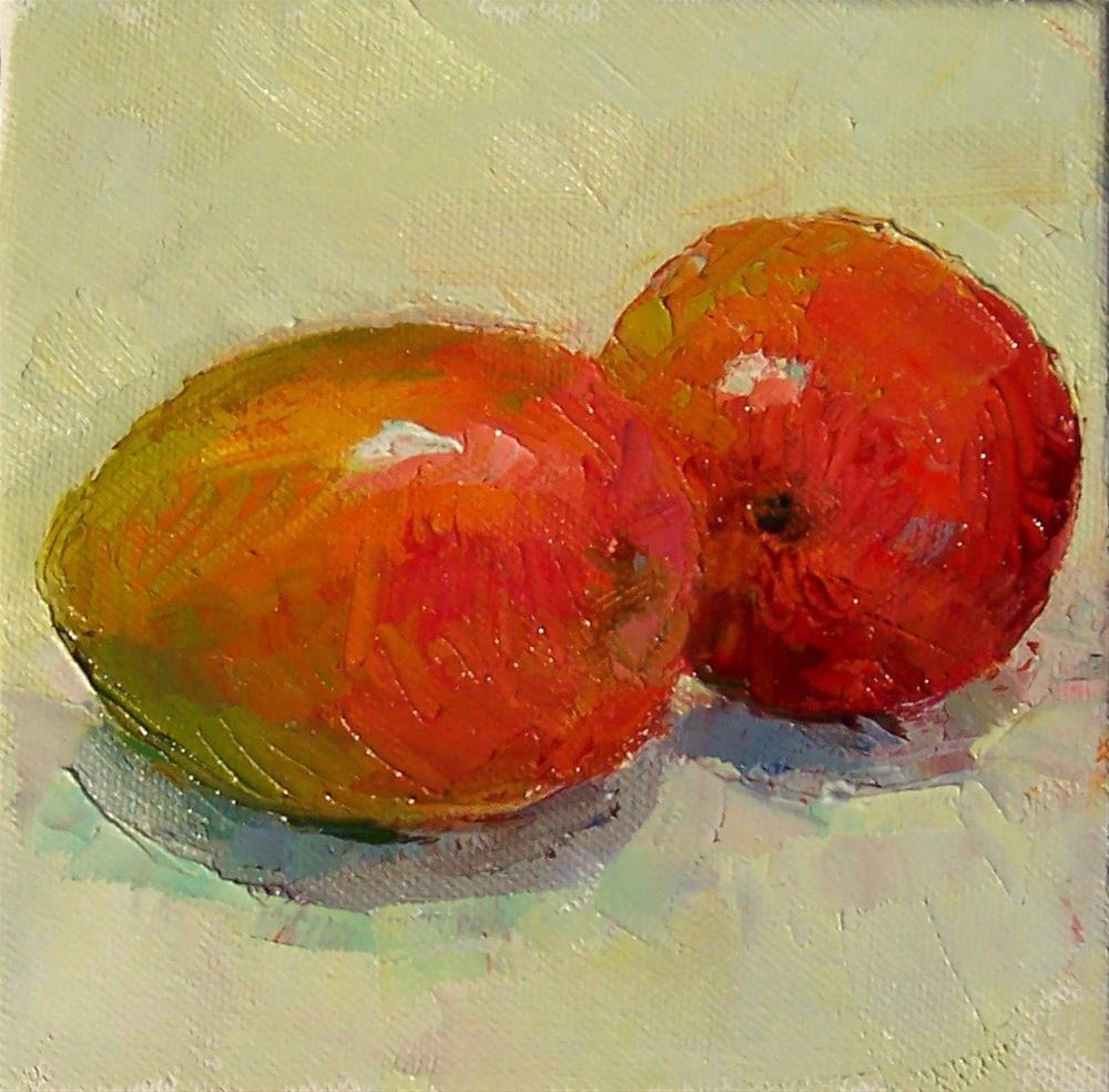 """Mangoes,still life,oil on canvas,6x6,price$200"" original fine art by Joy Olney"