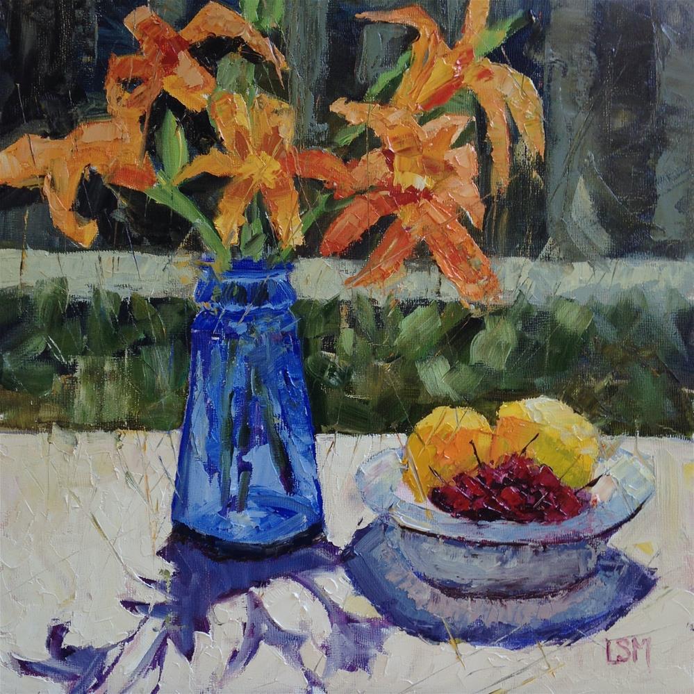 """Blue Glass Orange Liles"" original fine art by Linda Marino"