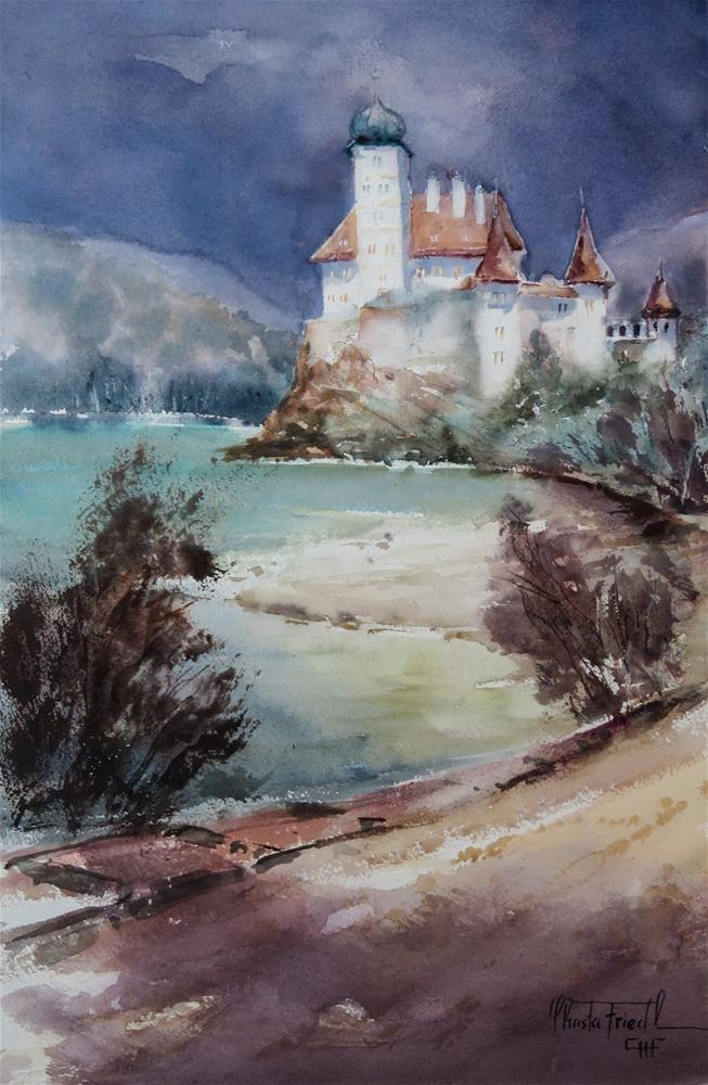 """Castle Schönbühel afternoon"" original fine art by Christa Friedl"