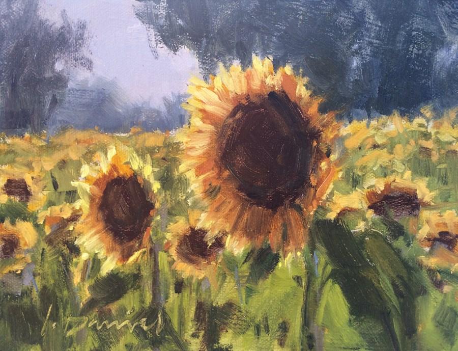 """""""Sunflower Fields Aglow"""" original fine art by Laurel Daniel"""