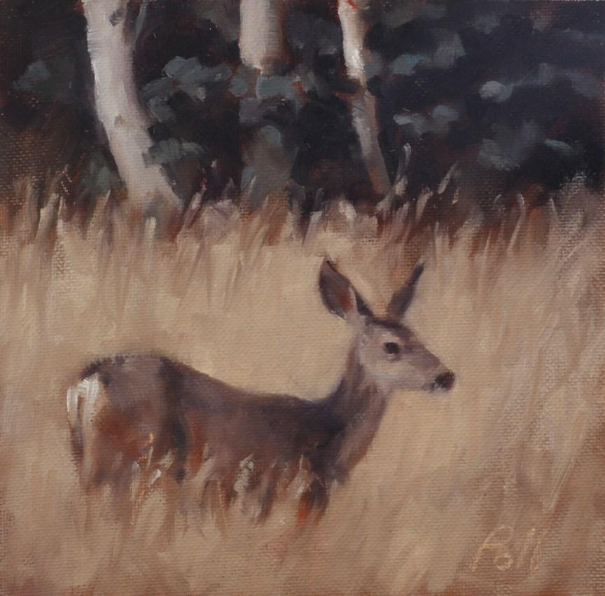 """""""Deer and Aspen"""" original fine art by Pamela Poll"""