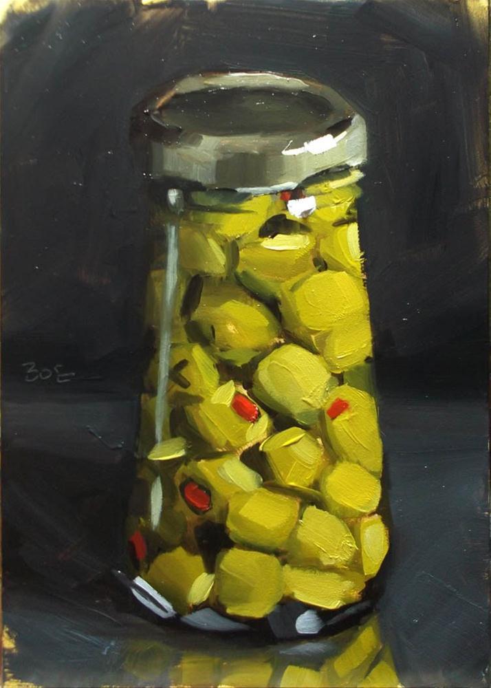 """""""Jar of Olives"""" original fine art by Karen Boe"""