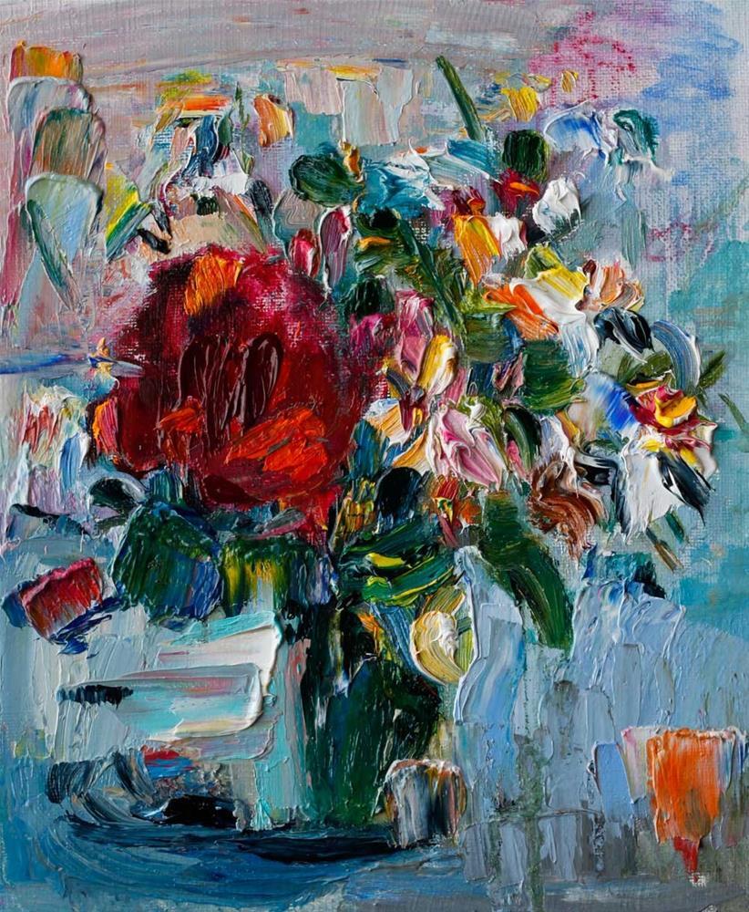 """Bouquet of Red Rose and Jasmine Flowers"" original fine art by Anna Fine Art"