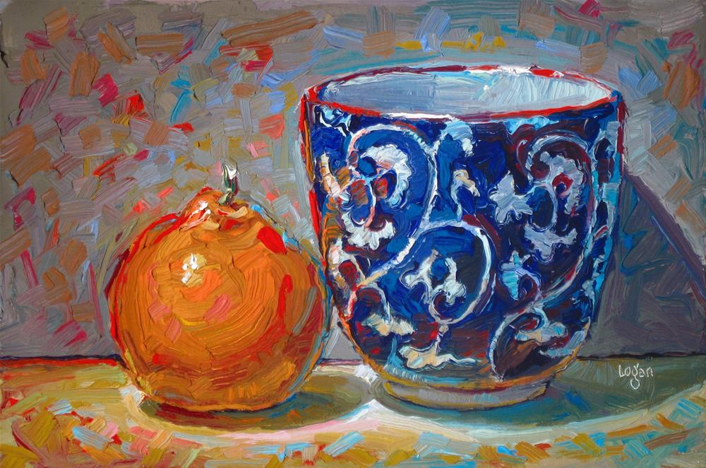 """Tangerine and Tea Bowl"" original fine art by Raymond Logan"