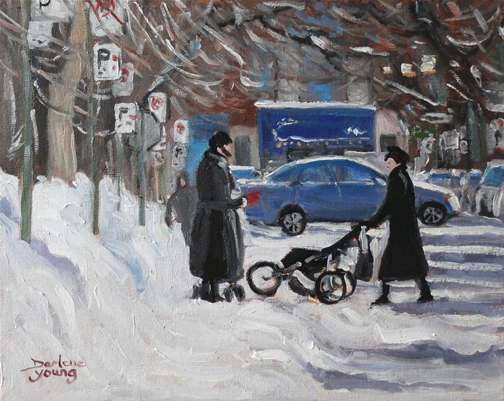 """""""922 Montreal Winter Scene, Outremont, oil on board, 8x10"""" original fine art by Darlene Young"""