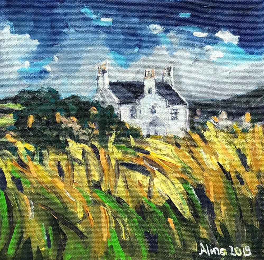 """Cottage in Scotland"" original fine art by Alina Vidulescu"