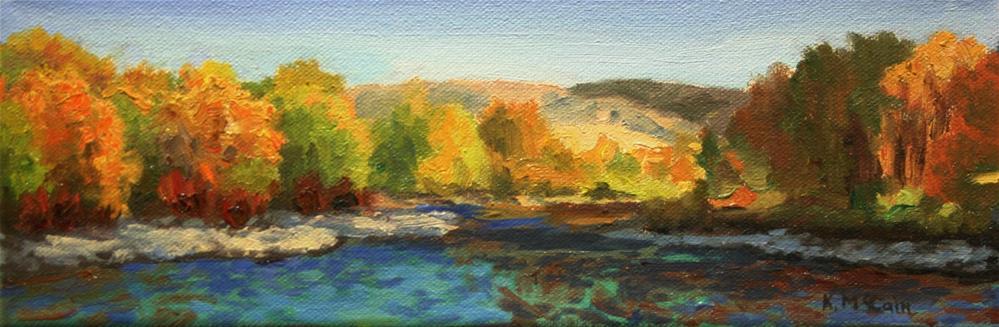 """Fall Trees Quiet River"" original fine art by K.R. McCain"