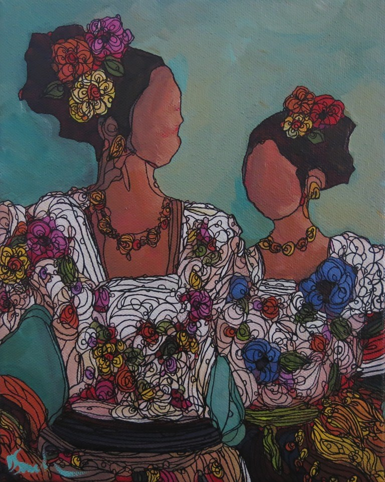 """SISTERS"" original fine art by Dee Sanchez"