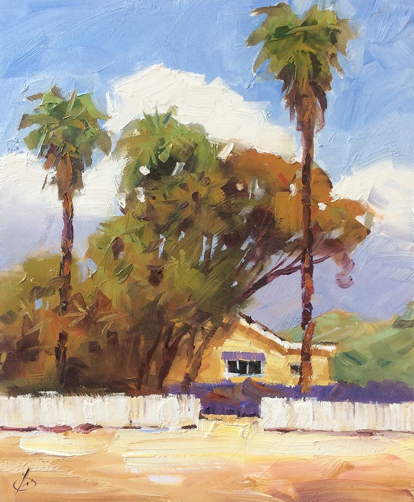"""""""YELLOW HOUSE AT CRYSTAL COVE BEACH"""" original fine art by Tom Brown"""