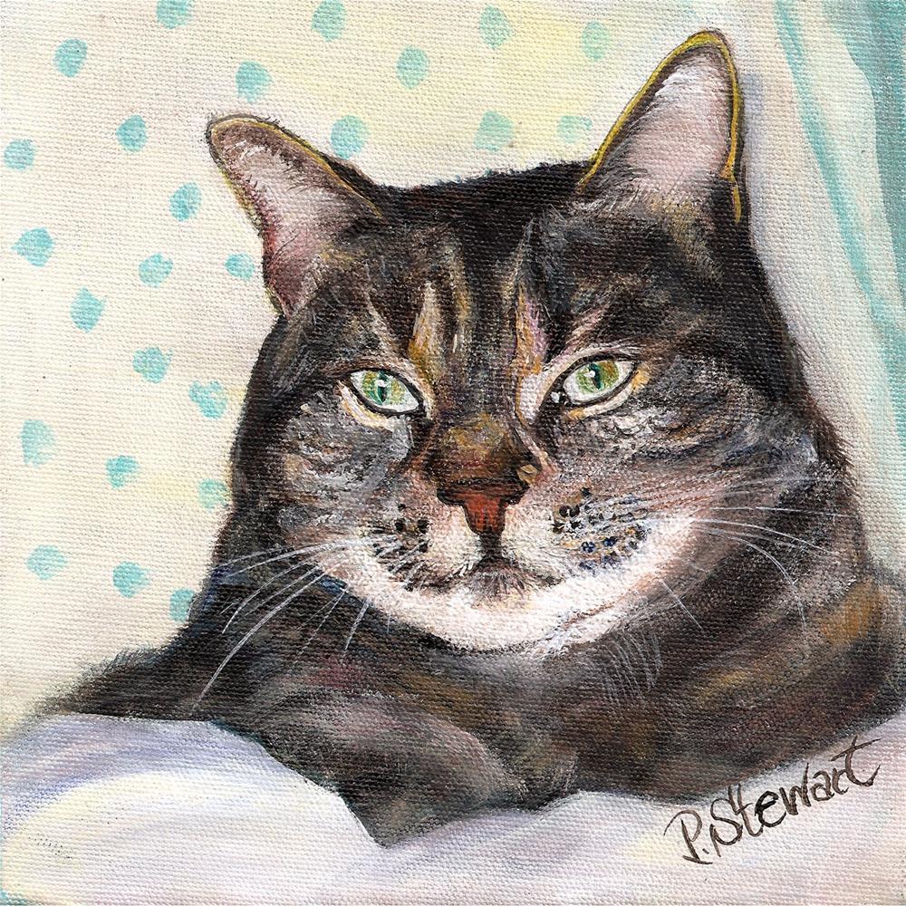 """8x8 Grey Tabby Cat, Acrylic on Canvas"" original fine art by Penny Lee StewArt"