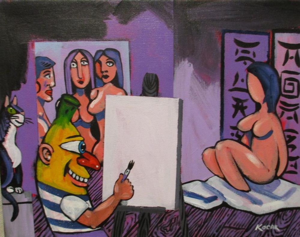 """Pablo Banana's Purple Studio"" original fine art by George Kocar"